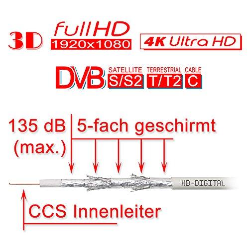 135 db 100 m HB DIGITAL cable coaxial 5-capas para Ultra HD 4 K DVB-S/S2 DVB-C y dispositivos DVB-T BK + 10 conectores F dorados-connettore SET incluye: ...