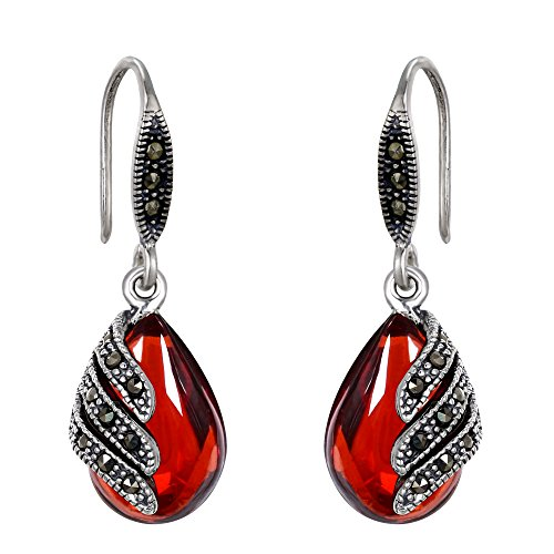 EVER FAITH 925 Sterling Silver Red Garnet Gemstone Crystal Art Nouveau Inlay Teardrop Hook (Garnet Inlay)