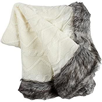Amazon.com: Nantucket Home Cable Knit Throw Blanket with