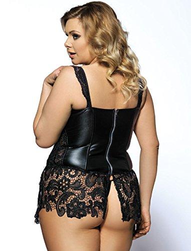 GoeSecret Women's Leather Boned Cincher Bustier Plus Size Faux Leather and Venice Lace - Size Plus Corsets Leather