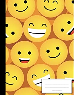 Cute Emoji Flat Style : Composition Notebook: College Wide ...