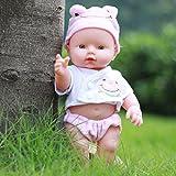"CARESHINE Reborn Baby Doll, 12"" Soft Vinyl Silicone Lifelike Sound Laugh Cry Newborn Baby Toy Boys Girls Birthday Gift (Pink)"