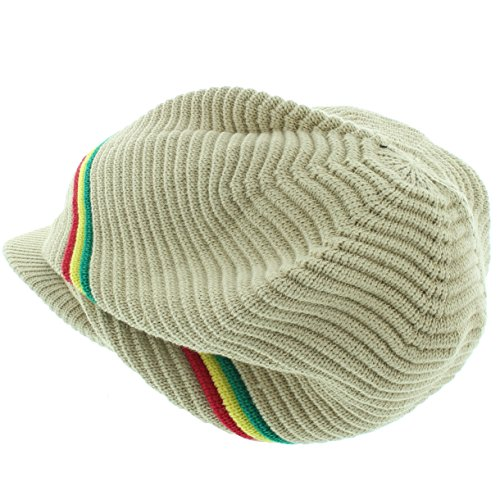 Milani Rasta-Inspired Patterned Woven Beanie with Bill
