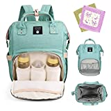 Stylish Diaper Bag Large Capacity Multi-Function Waterproof Travel Backpack Nappy Bags for Baby Care Durable Nursing Bag for Mummy Contains 2 Free Saliva Towels (Green)