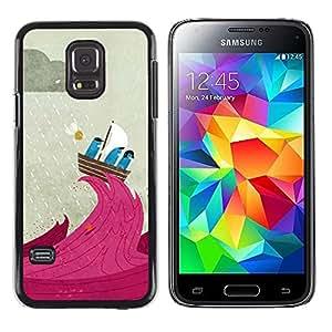 iKiki Tech / Estuche rígido - Cartoon Sail Rain Boat Captain Cute - Samsung Galaxy S5 Mini, SM-G800, NOT S5 REGULAR!