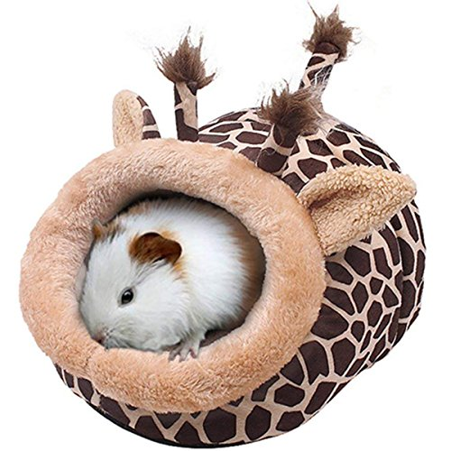 Hollypet Warm Small pet Animals Bed Dutch Pig Hamster Cotton Nest Hedgehog Rat Chinchilla Guinea Habitat Mini House, Brown Giraffe