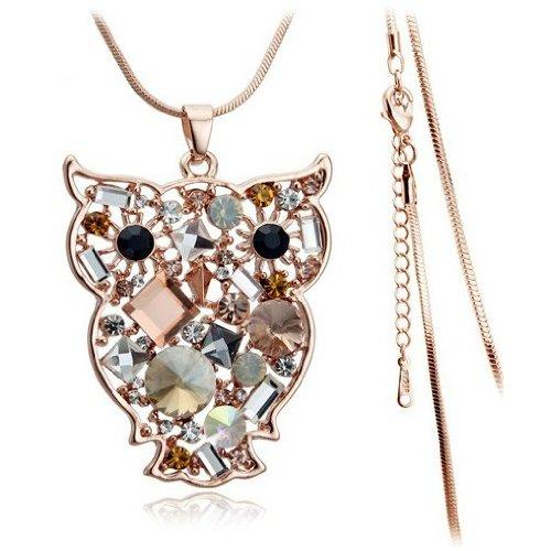 "Everbling Owl Swarovski Elements Crystal Pendant Necklace 18"""