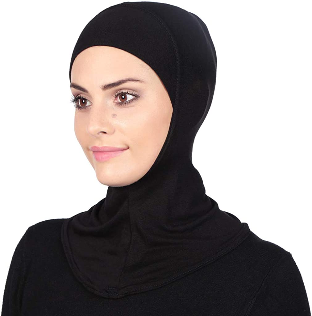 GERINLY Solid Women's Muslin Hijab Jersey Head Scarf Plain Under Scarf Muslimah Turban Cap Scarf