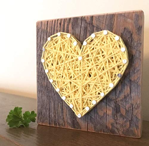 Sweet & small wooden yellow string art heart sign. Perfect for Mother's Dat gifts, home accents, Wedding favors, Anniversaries, nursery decoration and just because gifts by Nail it Art.