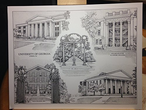 University of Georgia 14''x18'' pen and ink collage print by Campus Scenes