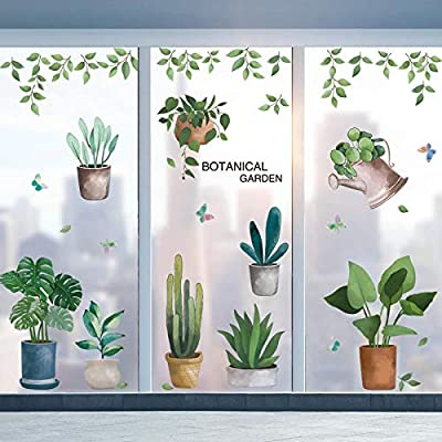Tienda té etiqueta puerta vidrio puerta corredera ropa infantil creativa 3D planta veretiqueta ventana en maceta decoración ventana-Diente león púrpura grandos sets_Big: Amazon.es: Bricolaje y herramientas