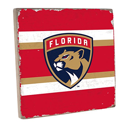 "Rustic Marlin Designs NHL Florida Panthers,Red, Vintage Square, 12"" H X 12"" W"