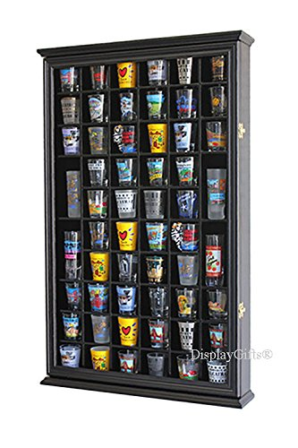 56 Shot Glass Shooter Display Case Holder Cabinet Wall Rack w/Solid Wood- BLACK Finish by DisplayGifts