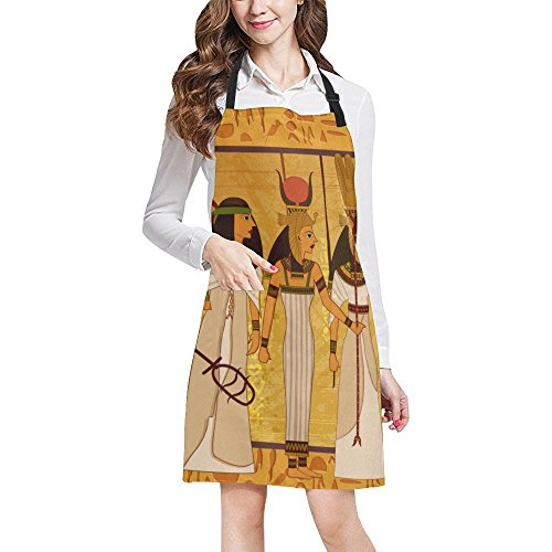 Egyptian Decor Adjustable Kitchen Chef Bib Apron with Pocket for Cooking, Baking, Crafting, - Mirror Pocket Zodiac