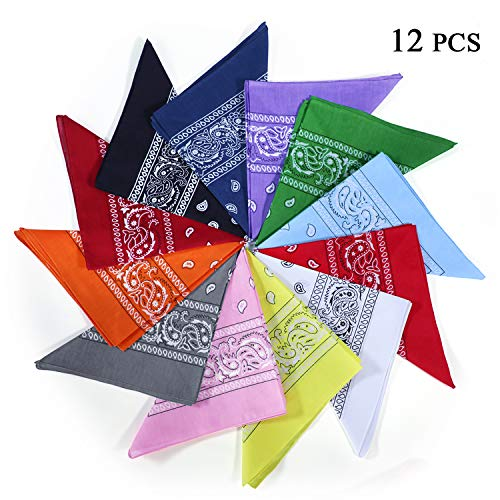 "12 PCS Multifunctional Bandanas for Men and Women, 100% Cotton Unisex Cowboy Paisley Headband, Scarves, Wristband - 22"" -"