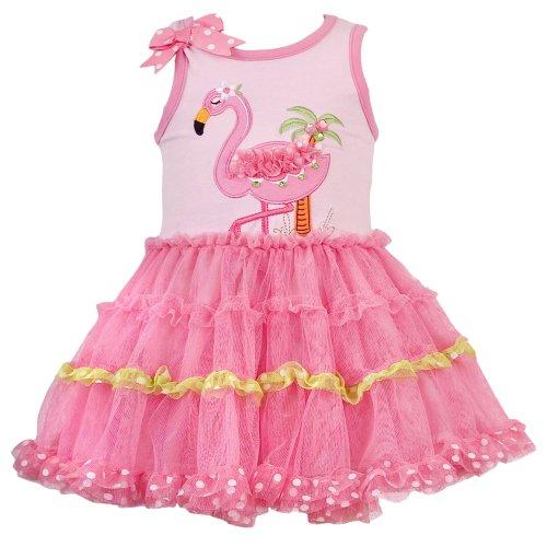 Size-9M RRE-46232S PINK JEWELED FLAMINGO APPLIQUE TIERED MESH Tutu Dress,S646232 Rare Editions Baby/NEWBORN