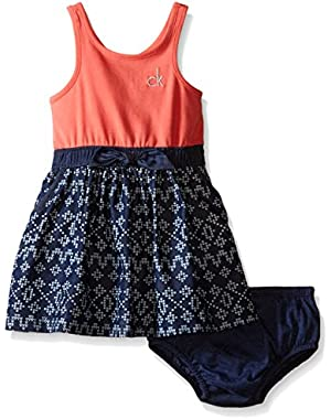 Baby Girls' Jersey Dress with Printed Denim Skirt and Panty