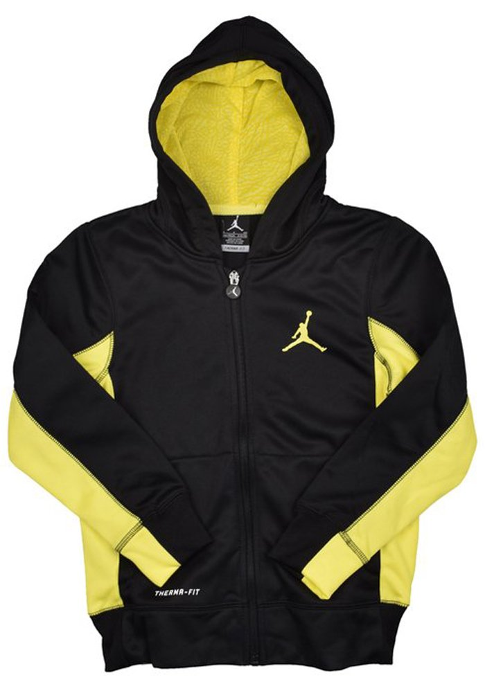 Nike Jordan Boys (8-20) Air Therma-Fit Jumpman Full Zip Hoodie-Black/Yellow-Large