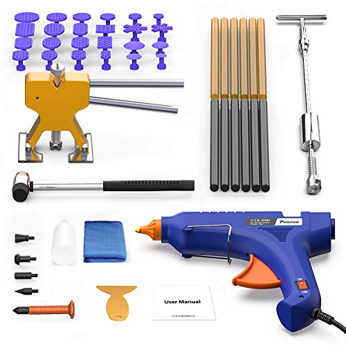 POWPDR Paintless Dent Repair Tool - Pro Dent Removal Kit with Slide Hammer, Gold Dent Lifter Puller, 100W Glue Gun, Dent Remover for Refrigerator Washing Machine Auto Body Small and Large Dent Puller