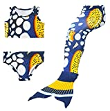 HAcostumes 3pcs Swimmable Mermaid Tail for Kids Girls Princess Bikini Set Swimsuit Swimwear, 3-12Years