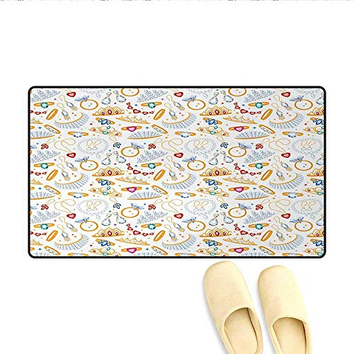Bath Mat,Pattern with Accessories Diamond Rings and Earring Figures Image Digital Print,Floor Mat Pattern,White Yellow,Size:16