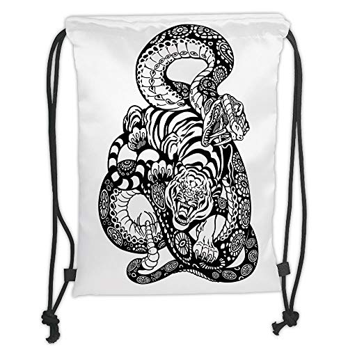 Custom Printed Drawstring Sack Backpacks Bags,Tiger,Tattoo Style Scene of Two Animals Fighting Long Snake with Sublime Large Cat Battle,Black White Soft Satin,5 Liter Capacity,Adjustable String Closur