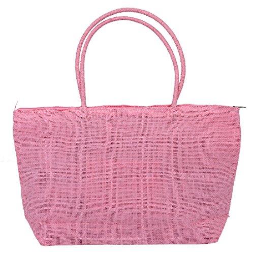 Sodial (r) Fashion Ladies Tessuto Intrecciato Paglia Estate Borsa A Tracolla Shopping Spiaggia Borsa - Rosa