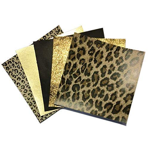Leopard Leather Skin Hide Sheets: 5 Brown Scrap Leather Pieces with Golden Metallic Leather Sheets for Crafts 5x5In/ 12x12cm