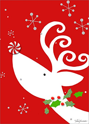 (Reindeer with Peppermint Tip On: Handcrafted - LPG Barb Tourtillotte Box of 12 Christmas Cards)
