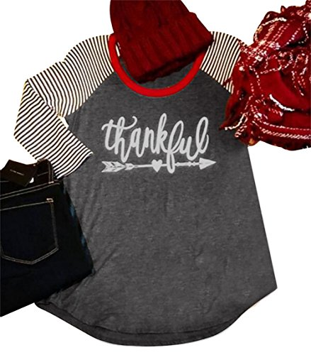 Women's 3/4 Sleeve Thanksgiving Thankful Arrow Striped Raglan Baseball T-Shirt Size L (Gray) by FAYALEQ