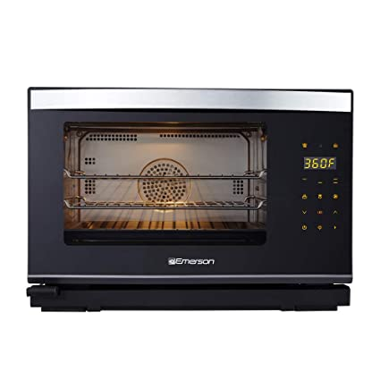 Emerson ER101005 Deluxe 0 9 Cu  Ft  Steam Grill Oven With Convection &  Grill Feature, Black and Stainless Steel