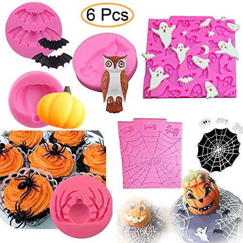 Halloween Cake Fondant (6Pcs/Set Halloween Cake Fondant Molds, Halloween Party Cupcake Topper Decorating Tools, Silicone Chocolate Candy Mold Gum Paste Polymer Clay Epoxy Resin Mould (Bat Pumpkin Spider Owl Ghost)