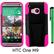 HTC One M9 (2015 HTC New Flagship Android Phone; US Carrier: Verizon Wireless, AT&T, Sprint, and T-Mobile) Phone Case - Premium Heavy Duty Dual Shield Hybrid Protector Case with KickStand + 1 of New Metal Stylus Touch Screen Pen (PINK)