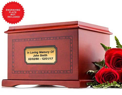 Wood Cremation Urn for Human Ashes – Funeral Adult Urn - (With Border) (Urn Chest)