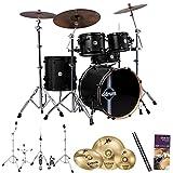 ddrum Reflex RSL 5-Pc Shell Pack w/ Cymbals, Hardware, Drum Set Survival Guide & ChromaCast 5AB Drumsticks, Black Satin