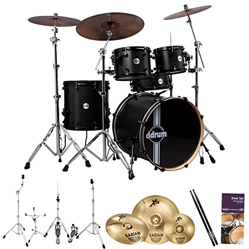 ddrum-reflex-rsl-5-pc-shell-pack-w-cymbals-hardware-drum-set-survival-guide-chromacast-5ab-drumstick