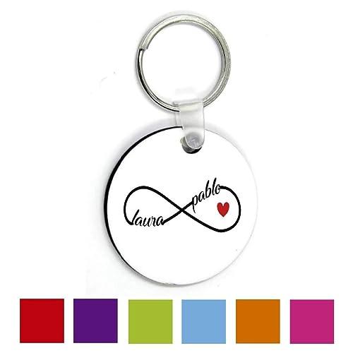 Regalo Original San Valentin/Llavero Infinito Redondo/Personalizado/Pareja/Enamorados/Mujer/Hombre/Chica/Chico/Novia/Novio/Aniversario/Cumpleaños