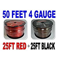 4 Gauge 25 BLACK and 25 RED Car Audio Power Ground Wire Cable 50 ft Total