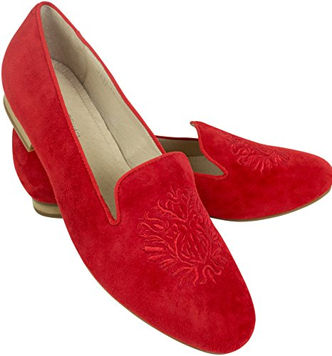 Shirin Sehan Bestickte Velours Leder Loafer Alessia Rot mit Wappen