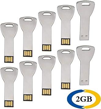 Uflatek 2 GB Pendrive Pack of 10 Llave Memoria USB 2.0 Flash Drive Metal Plata U Disco Alta Velocidad Unidad Flash USB Divertido Memory Stick Almacenamiento de Datos para Regalo: Amazon.es: Electrónica