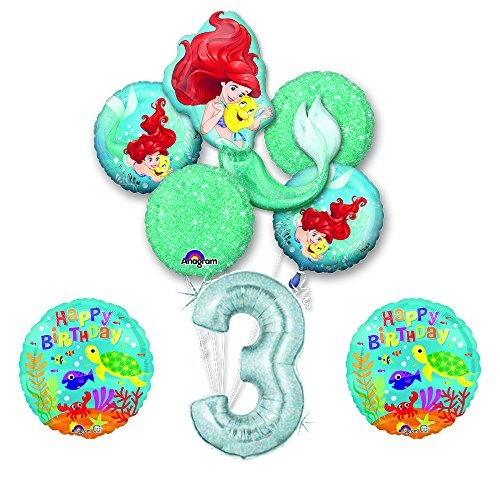 NEW! Ariel Little Mermaid Disney Princess Undersea 3rd BIRTHDAY PARTY Balloon decorations supplies -