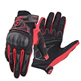 AINIYF Tactical Gloves | Motorcycle Shell Full Finger Motorcycle Gloves Cycling Anti-Wheel Motorcycle Spring Breathable (Color : Red, Size : M)