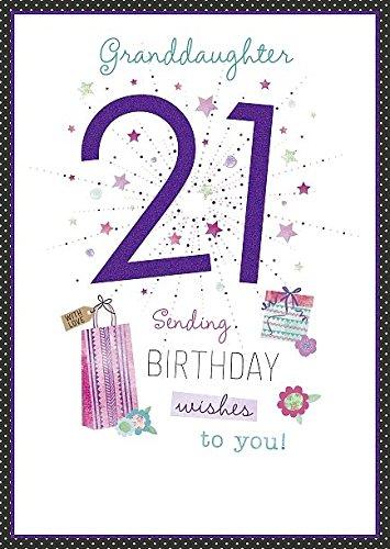 Amazon Granddaughter Age 21st Happy Birthday Morden 21 Greeting