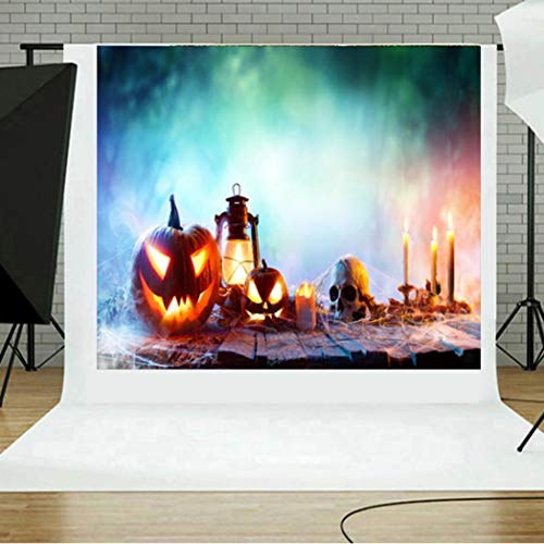 vmree Indoor Photographic Studio Backdrop, Halloween Pumpkin Photo Shooting Background Props Wall Hanging Screen Post-Production Curtain Folding & Washable Art Cloth 5x3FT. (G) -