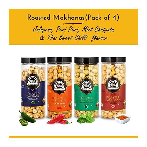 WONDERLAND FOODS (DEVICE) Roasted Makhana Jalapeno, Peri-Peri, Mint-Chatpata and Thai Sweet Chilli Fox Nuts (400 g)