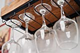 Kenley Wall Mounted Wine Rack with Glass Holder - Rustic Wood - Horizontal Floating Hanging Shelf for 4 Bottles - Metal Bar Stemware Storage Racks for 12 Glasses
