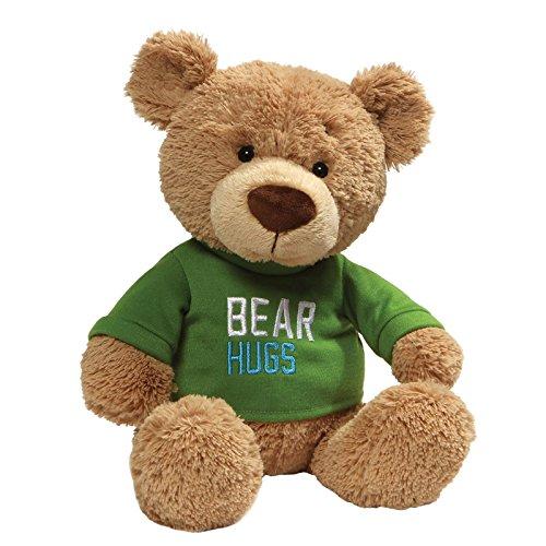 GUND Bear Hugs Green T-Shirt Teddy Bear Stuffed Animal Plush, Tan, 12.5