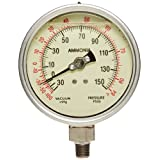 "PIC Gauge AMMONIA-LF-404CF-GLO Glycerin Filled Bottom Mount Ammonia Gauges with Stainless Steel Case, 316 Stainless Steel Internals, 4"" Dial Size, 1/4"" Male NPT Connection Size, Glow Dial, -30/0/150 psi Range"