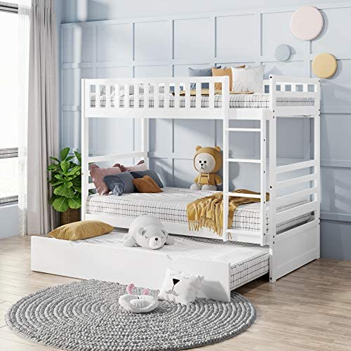 P PURLOVE Twin Size Loft Bed Low Loft Bed Wood Loft Bed