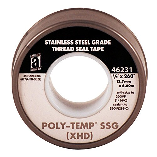 ANTI-SEIZE TECHNOLOGY 46231 Silver PTFE Poly-Temp Stainless Steel Grade Extra Heavy Duty Tape, 260